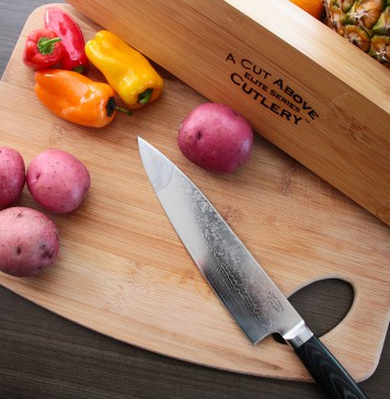 """Chef's Knife - 8 Inch """"Damascus"""" Steel Japanese Style Blade - From the Elite Series by A Cut Above Cutlery - Professional Quality, Super Sharp and Versatile Multipurpose Knives"""