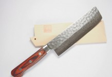 Norisada Hammered Damascus Usuba/Nakiri Vegetable Knife 6-Inch with Saya Cover