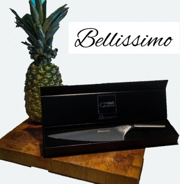 JanuarySale Bellissimo 8 Inch Chef Knife - German HC Steel - Full Tang Balanced Kitchen Knife - plus FREE GIFT ($20 Value) and Discounts