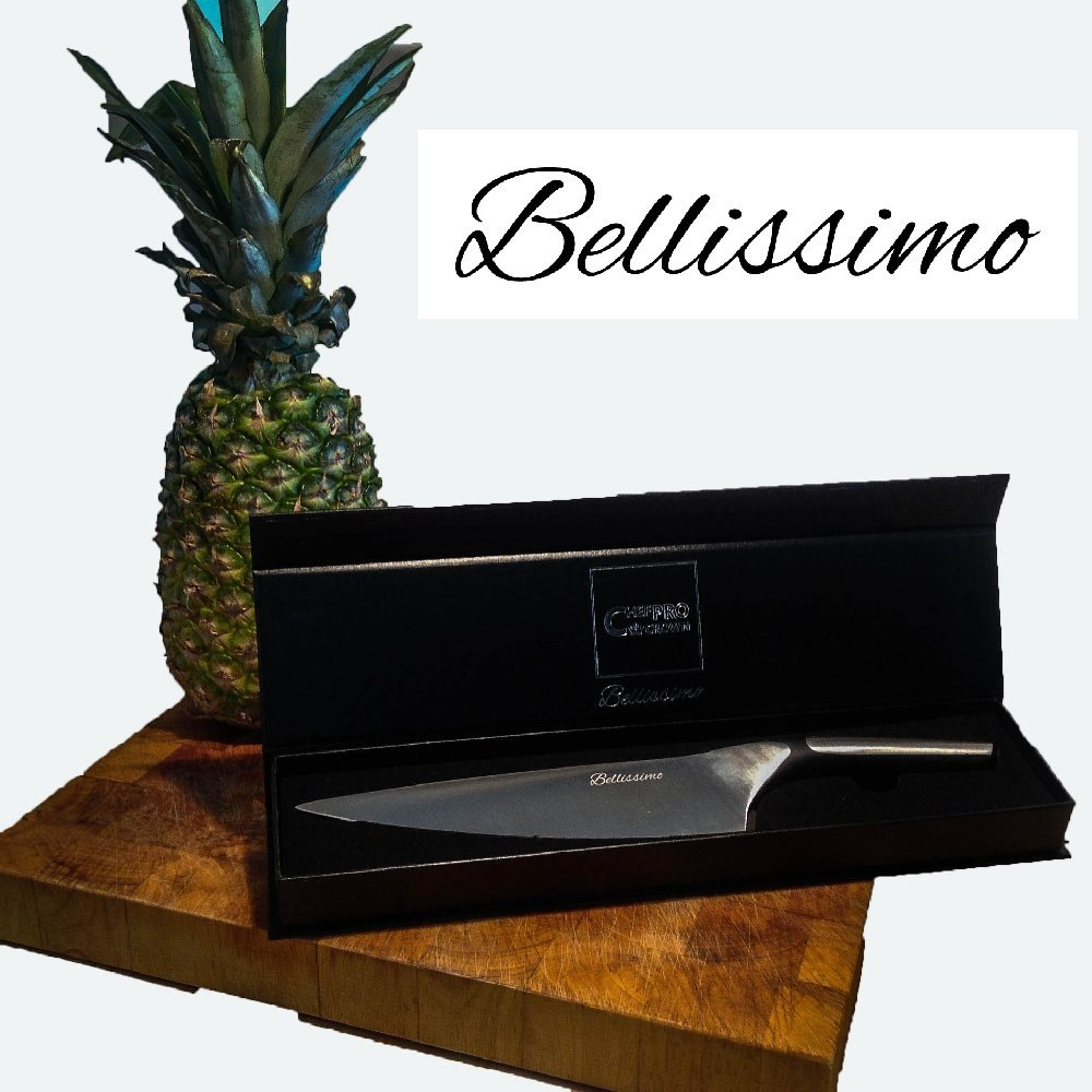 review januarysale bellissimo 8 inch chef knife german hc steel full tang balanced kitchen. Black Bedroom Furniture Sets. Home Design Ideas