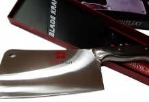 Chopper Knife - BladeKraft Elegant Series - Stainless Steel full tang kitchen Cleaver with a real carved wooden walnut handle (S2, Red)