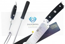 DALSTRONG Carving Knife & Fork Set - Gladiator Series - German HC Steel - 4pc Hollow Ground - Honing Rod - 9""