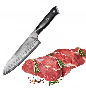 "Bruntmor, Tokuso Series VG10 7"" Santoku Knife Super Steel 67 Layer High Carbon Damascus Stainless Steel - Razor Sharp, Superb Edge Retention, Non-Stick Stain & Corrosion Resistant! Gift Box Packaging!"