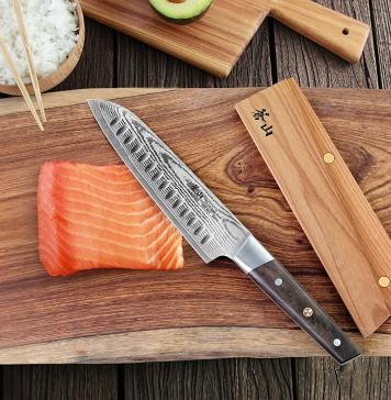 Cangshan R Series 62724 Japan VG-10 Forged Santoku Knife with Ashwood Sheath, 7-Inch