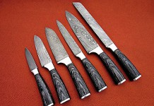 DR-1049 CUSTOM MADE DAMASCUS BLADE 6Pcs. KITCHEN / CHEF'S KNIFE SET RAZOR SHARP