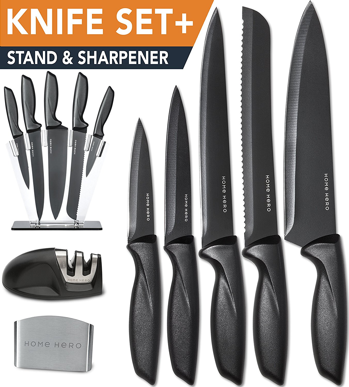 review homehero 5 piece stainless steel sharpener and block kitchen knife set with finger guard. Black Bedroom Furniture Sets. Home Design Ideas