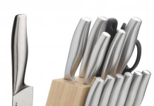 LivingKit Stainless Steel Kitchen Knife Block Set (14-Piece)