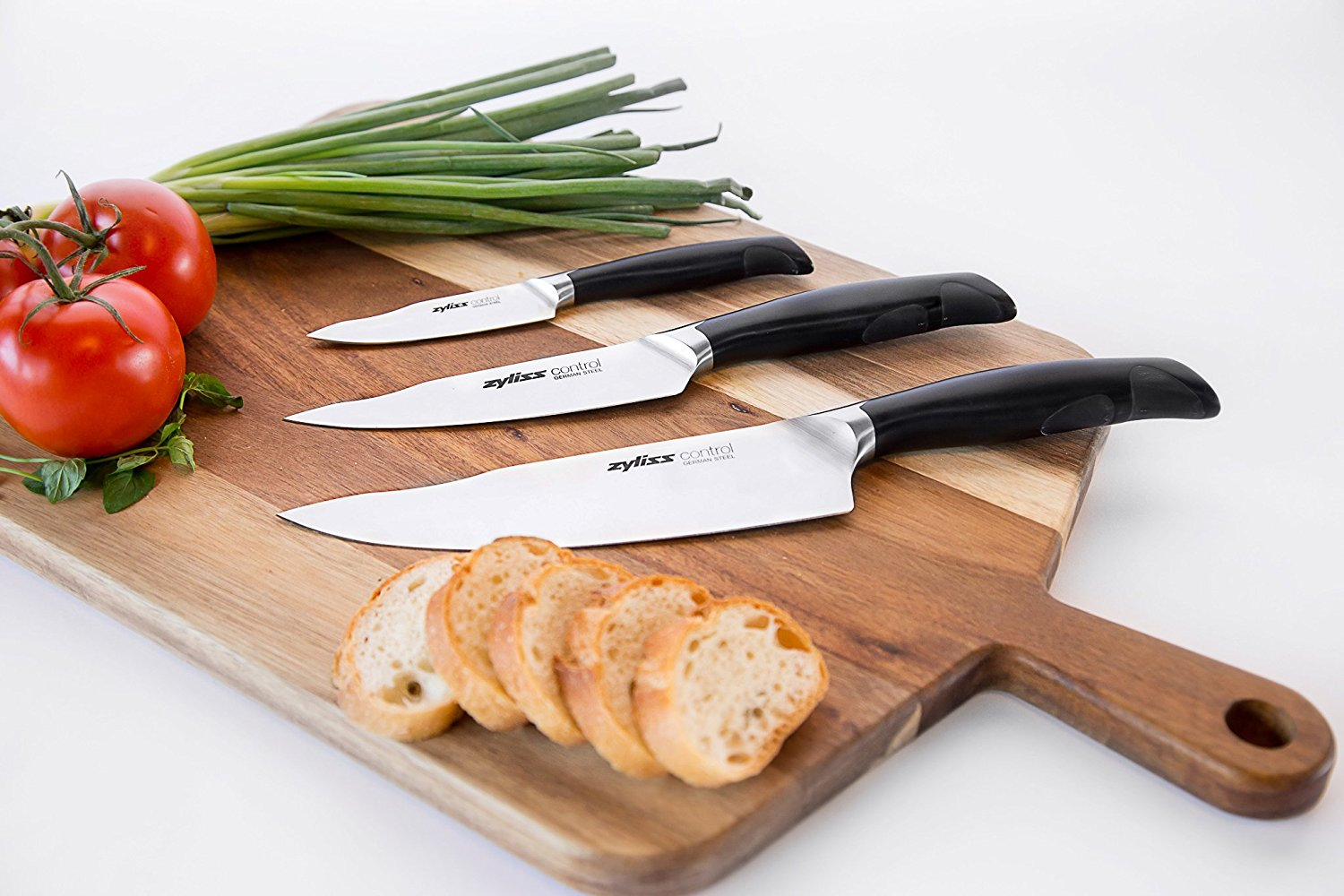 review zyliss control kitchen knife set includes paring utility chefs knife professional. Black Bedroom Furniture Sets. Home Design Ideas