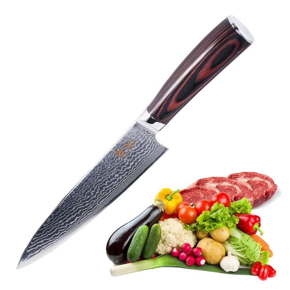 review chefs knife 8 inch-japanese vg10 super steel 67