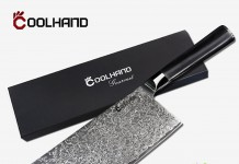 Cool Hand 7'' Damascus Chinese Style Chef's Knife, High Carbon Japanese 67 Layers VG10 Damascus Stainless Steel w/ Black G10 Handle