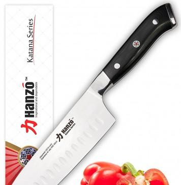 HANZO Santoku 7 inch - Best Edge Retention w/ UltraEdge™ High Carbon Japanese Steel Granton Blade - VG10 - UltraComfort™ G10 Chef Knife Grip - Ideal Gift