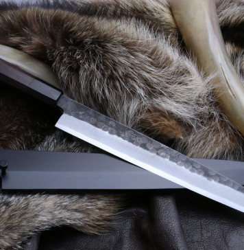 "Yoshihiro Hongasumi White Steel Black Hammered Forged Yanagi Sashimi Knife 9.5"" with Nuri Saya Cover"