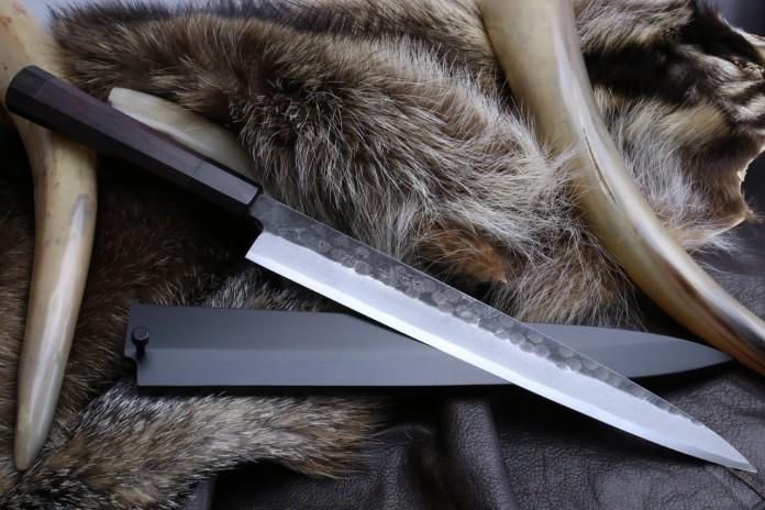 Yoshihiro Hongasumi White Steel Black Hammered Forged Yanagi Sashimi Knife 9.5