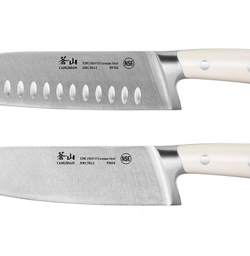 Cangshan S1 Series 59687 German Steel Forged Chef and Santoku Knife Set, 8-Inch and 7-Inch