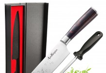 LauKingdom Chefs Knife, High Carbon Stainless Steel & Full Tang Blade Kitchen Knife with Sharpener