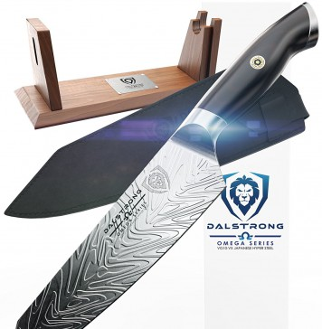 "DALSTRONG Chef Knife - Omega Series - VG10-VX - 8.5"" Kiritsuke - Limited Edition Set - Acacia Wood Stand - Sheath"