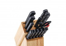 Farberware 14-Piece Triple-Rivet Knife Block Set with Built-In EdgeKeeper Knife Sharpener