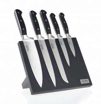 Ross Henery Professional, 5-piece premium stainless steel kitchen knife set on a stylish, black magnetic block