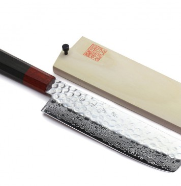 Yoshihiro NSW 46 Layers Hammered Damascus Usuba Vegetable Chef knife 6.3 IN (160mm) Shitan Rosewood Handle with Saya Cover