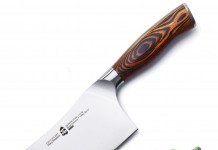 "TUO Cutlery Vegetable Cleaver Knife 7"" - Chinese Chef's Knife - German Steel with Pakkawood Handle with Case - Fiery Series"